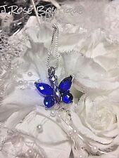 BUTTERFLY BLUE SILVER 925 STAINLESS Cremation URN W/FUNNEL Necklace Ash JEWELRY
