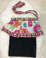 New listing Pier One Womens White Floral Tiered Watercolor Terry Black Apron 100% Cotton