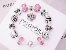 Authentic Pandora Sterling Silver Bracelet with Mom Family European Charms
