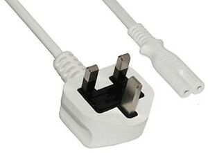 POWER MAINS CABLE WHITE LEAD 5 metre 5m FIGURE 8 fig8 C7 for DVD PRINTER SKY