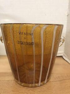 VENINI DISARONNO Hand Blown Murano Venetian Art Glass Amber ICE BUCKET