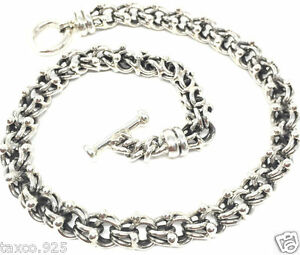 TAXCO MEXICAN 925 HEAVY STERLING SILVER MEN'S UNISEX CHAIN LINK NECKLACE MEXICO
