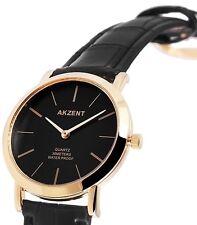 Herren Armbanduhr Schwarz/Gold Kunstlederarmband 3ATM Wasserdicht von Akzent
