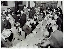 1934 Vintage Photo women serve unemployed men food at Welfare Center In London