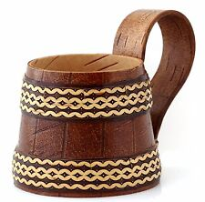 Birch Bark Wooden Beer Stein Mug Handmade Cup Water Milk Juice 8.5 OZ (0.25 L)