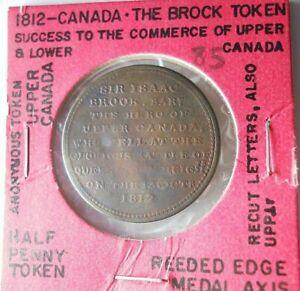 1812 UPPER CANDA (BROCK) 1/2 PENNY - Great Informational Card -SCARCE- Lot #J21