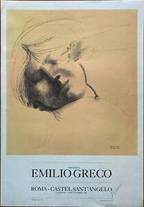 Emilio Greco manifesto litografico Volto 1983  50x70 firmato Castel Sant'Angelo