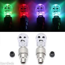 4x Skull 7-Color Changing Car Tire Valve Stem Covers Flashing LED Lights Kit