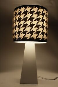 Black and White Hounds Tooth Design Nursery Lamp with Blub New in Box Adorable