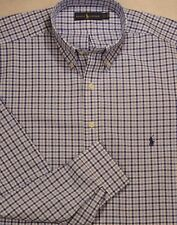 Ralph Lauren Navy/White Plaid Button-Front Shirt 3XB 3XL 3X NWT $98