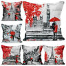 JN_ CW_ Comfortable Pillow Case Romantic Couples Eiffel Tower Cushion Cover Ho
