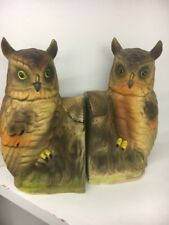 HORNED OWL VINTAGE PAIR OF CERAMIC BOOKENDS  HAND PAINTED  JAPAN 1950's