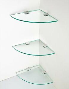 3 X Glass Corner Shelf Ideal Bathroom Shelves