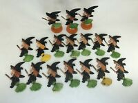 Vtg 1960's Halloween Witches Riding Brooms Hand Painted Plastic Cake Topper Lot