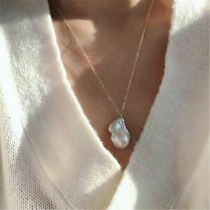 Huge 20-26mm White Baroque Pearl Necklace 18K Chain 18 inches Gift Jewelry
