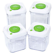 Set of 4 High Quality Vacuum Lid Food Storage Canisters Airtight Containers Jars
