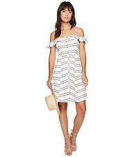 Astr The Label Ramona Shift Dress Size XS Off the Shoulder Striped Black White