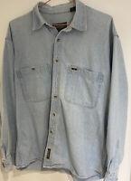 Vintage Timberland Mens Blue Denim Shirt Size Large 👍