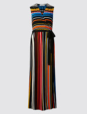 EX Marks and Spencer PER UNA Striped Tie Detail Maxi Dress  Size 22