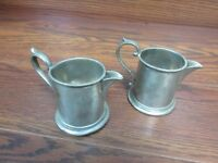 Vintage VINERS or MINERS (?) of SHEFFIELD ENGLISH PEWTER Creamer (lot of 2!)