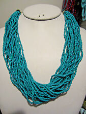 Multi Strand turquoise Glass Seed Bead  Bead Necklace