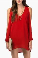 Women's Sexy Red Couture Tunic Top Cold Shoulder Hi-lo Shift Dress New Large😊