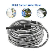 Stainless Steel Metal Garden Water Hose Pipe 50/75/100FT Flexible Lightweight