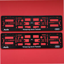 Pair Audi Black Vorsprung durch Technik Number Plate Surrounds Holder Frame Car