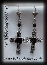 ^v^Ohrschmuck*Rose & Cross*larp*Gothic*earrings*Kreuz*Cameo*Resin Rose*black^v^