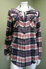 Miss Posh Women's Multi-Colored Plaid Shirt W/ Built-in Hood~ Size M