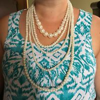 "NE White real shell pearls 5 strands statement necklace 17/19"" -32"" BOXD Plum UK"