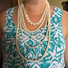 "NE White simulated pearls 5 strands statement necklace 17/19"" -32"" Plum UK"