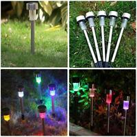5pcs Stainless Steel Solar Power LED Light Outdoor Garden Path Pathway Lawn Lamp