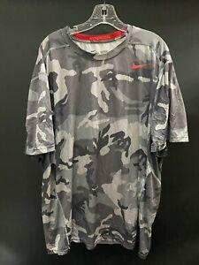 OHIO STATE GAME USED GRAY W/RED  CAMO DRI-FIT NIKE PRO COMBAT SHIRT SIZE 3XL