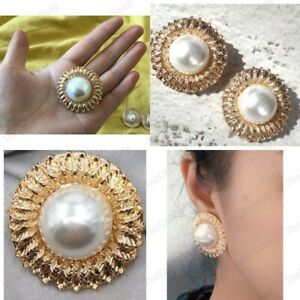 STUDS/CLIPS large retro PEARL cabochon BIG earrings GOLD TONE texture ROUND BIG