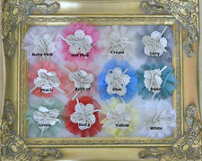 "Bulk Lot Cotton Lace Tulle Chiffon Flowers 3"" Scrap Booking Headbands Clothing"