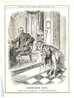 1911 Coronation Year, New Year Bows to King George V Punch Cartoon `12P