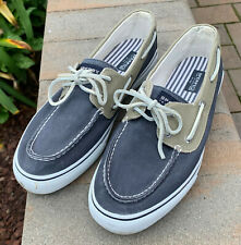 Sperry Top-Sider Mens Bahama Navy Khaki Canvas Two-Eye Boat Shoes Sneakers 13M