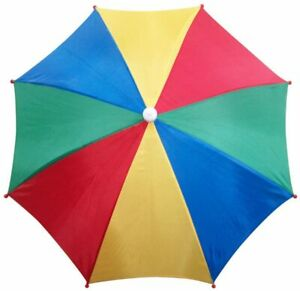Jumbo Rainbow Sun Umbrella Hat Foldable with Head Strap Fishing Camping Cap
