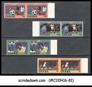 GHANA - 1982 WORLD CUP FOOTBALL / SPORTS - 4V PAIR - MINT NH IMPERF!!!!!