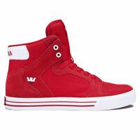 Supra Men's Vaider Hi Top Sneaker Shoes Formula One Red Wht Footwear Skateboard