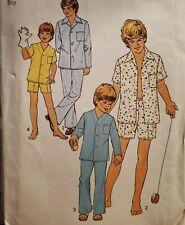 Vtg Simplicity pattern 6427 Boys' Front button top Pajamas size 6 & 8