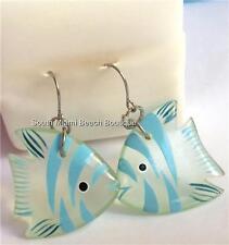 Silver Plated Fish Earrings Ocean Island Blue Green Sea Life Island USA Seller