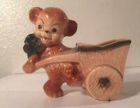Vintage Bear with wheelbarrow wagon ceramic pottery planter succulent air plant