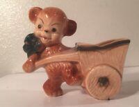 Vintage Bear with wheelbarrow wagon ceramic pottery planter succulent air plant
