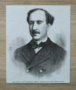 L12b) Holzstich M Prevost Paradol 1870 Frankreich Botschafter in USA 13,5x16cm