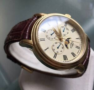 Men's Genuine Rotary Moonphase Watch Triple Date Gold Brown Leather GS00124/03