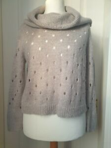 MINT VELVET Size 10 Grey Jumper With Hole Design And Large Cowl Neck-Wool/Mohair