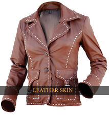 Leather Skin Women Brown Genuine Leather Jacket with Front Button Buckle Pockets