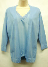 """*Nwt Lovely August Silk """" Twinset 1 pc Watercan Blue 3/4 Sleeve Top/Blouse sz M"""